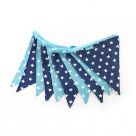 Υφασμάτινα Σημαιάκια Μπλέ και Γαλάζια με Αστεράκια