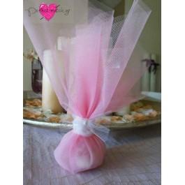 Μπομπονιέρα Γάμου-Βάπτισης Τούλι Ροζ με Πέρλα