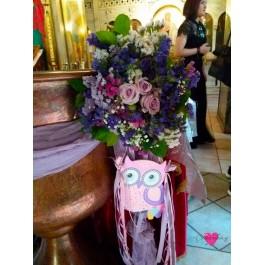 Διακόσμηση Κολυμπήθρας 'Λιλά Μώβ Λουλούδια Αγρού με Κουκουβάγια'