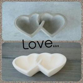 Μπομπονιέρα Γάμου-Βάπτισης Διπλή Καρδιά Μπωλ