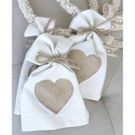 Μπομπονιέρα Γάμου και Βάπτισης Πουγκί με Τυπωμένη Καρδιά