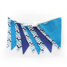 Υφασμάτινα Σημαιάκια Σεβρον Τυρκουάζ, Μπλε, Γκρι