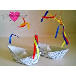Μπομπονιέρα Γάμου - Βαπτισής Σιδερένιο Καράβι με Μονογράμματα