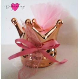 Μπομπονιέρα Βάπτισης Κορώνα Κουμπαράς Ροζ Χρυσό
