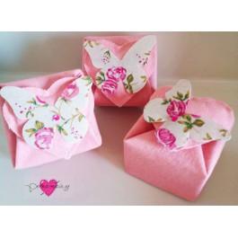 Μπομπονιέρα Γάμου - Βάπτισης Λινό Κουτί με Floral Πεταλούδα