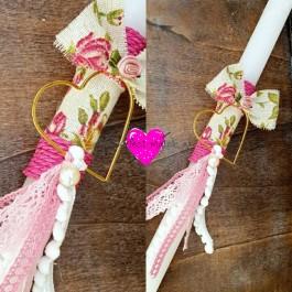 Πασχαλινή Λαμπάδα Floral επιχρυσωμένη Καρδιά