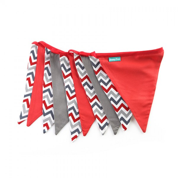 Υφασμάτινα Σημαιάκια Chevron Σχέδιο σε Κόκκινο, Γκρί και Λευκό