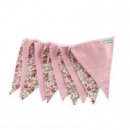 Υφασμάτινα Σημαιάκια Floral με Ροζ και Σάπιο Μήλο