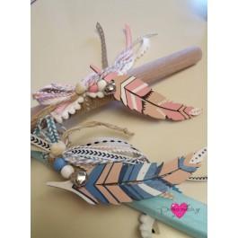 Πασχαλινές Λαμπάδες Boho Ξύλινα Φτερά
