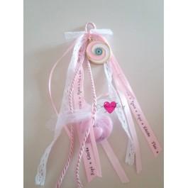 Μπομπονιέρα Γάμου-Βάπτισης Κρεμαστό Γούρι Μάτι Ροζ Σμάλτο