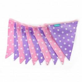Υφασμάτινα Σημαιάκια Ρόζ και Μώβ με Αστέρια