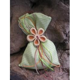 Μπομπονιέρα Γάμου - Βάπτισης Καρό Βεραμάν Πουγκί με Λουλούδι