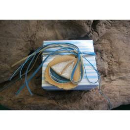 Μπομπονιέρα Γάμου - Βάπτισης Καρό Κουτί με Καράβι