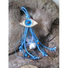 Μπομπονιέρα Γάμου - Βάπτισης Κρεμαστό Γαλάζιο Μάτι