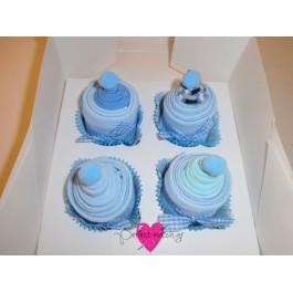 4 Γαλάζια Cupcakes με Καλτσάκια
