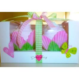 Κουτί με 2 Ροζ Cupcakes