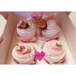 Κουτί με 4 Ροζ Cupcakes