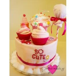 Τουρτάκι με Ροζ Cupcakes