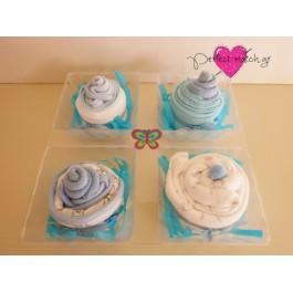 Θήκη με 4 Γαλάζια Cupcakes