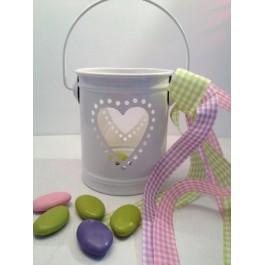 Μπομπονιέρα Γάμου - Βάπτισης Φαναράκι Λευκό με Καρδιά