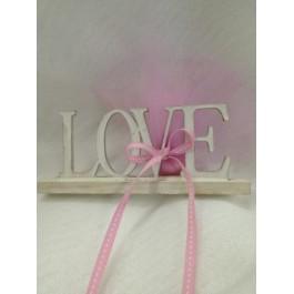 Μπομπονιέρα Γάμου - Βάπτισης Ξύλινο Διακοσμητικό Love