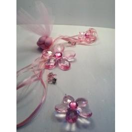 Μπομπονιέρα Γάμου - Βάπτισης Ροζ Κρυστάλλινα Λουλούδια