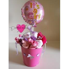 Ροζ Κουβαδάκι με Λουλουδάκια