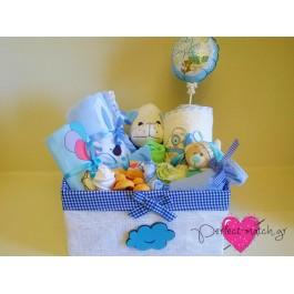 Ψαθινο Μεγάλο Κουτί Σκυλάκι Μπλε