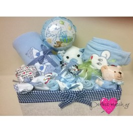 Μεσαίο Ψάθινο Μπλε Κουτί Σκυλάκι
