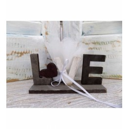Μπομπονιέρα Γάμου - Βάπτισης  Διακοσμητικό LOVE με Καρδούλα