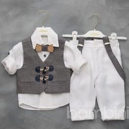 Βαπτιστικό Κουστουμάκι Γκρι-Λευκό Ξύλινο Παπιγιόν
