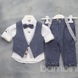 Βαπτιστικό Κουστουμάκι Λευκό-Μπλε Παπιγιόν