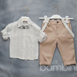 Βαπτιστικό Κουστουμάκι Λευκό-Μπεζ με Ξύλινο Παπιγιόν Μουστάκι