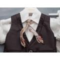 Βαπτιστικό κουστουμάκι Καφέ-Μπεζ με Γραβάτα από Φτερά