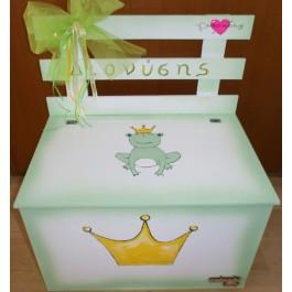 Βαπτιστικό Κουτί-Παγκάκι Ξύλινο Ζωγραφιστό με Πρίγκιπα Βάτραχο