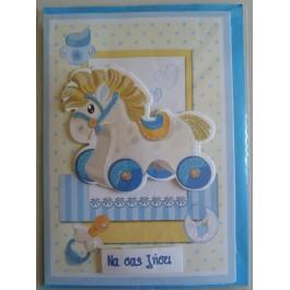 Γαλάζια Καρτούλα Κουνιστό Αλογάκι