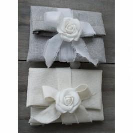 Μπομπονιέρα Γάμου και Βάπτισης Φάκελος με Υφασμάτινο Λουλούδι