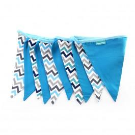 Υφασμάτινα Σημαιάκια Chevron σε Γαλάζιο και Λευκό