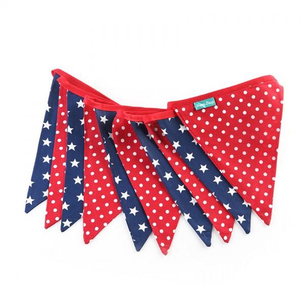 Υφασμάτινα Σημαιάκια Κόκκινο Πουά και Μπλε με Αστέρια