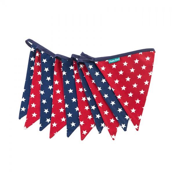 Υφασμάτινα Σημαιάκια με Αστέρια σε Κόκκινο και Μπλε