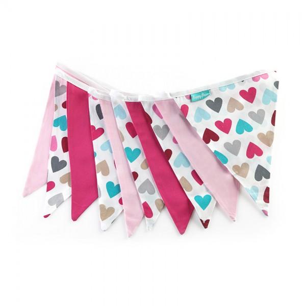 Υφασμάτινα Σημαιάκια Φούξια, Ροζ και Πολύχρωμες Καρδιές