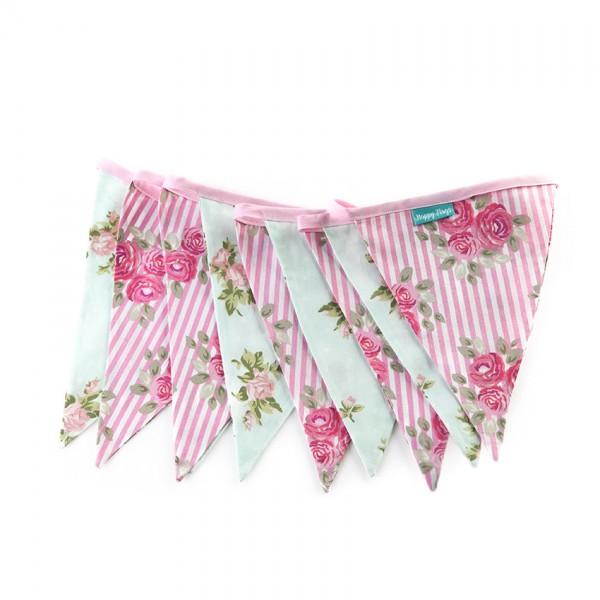 Υφασμάτινα Σημαιάκια Floral Ροζ Καρό και Βεραμάν