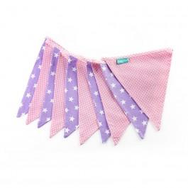 Υφασμάτινα Σημαιάκια Λιλά με Αστέρια και Ροζ Πουά