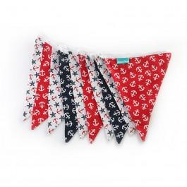 Υφασμάτινα Σημαιάκια με Άγκυρες και Αστερίες Κόκκινο, Λευκό, Blue Black