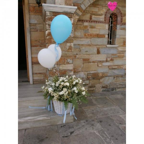 Διακόσμηση Εκκλησίας Πολυτελές Καλάθι με Λουλούδια και Μπαλόνια