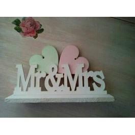 Μπομπονιέρα Γάμου & Βάπτισης Mr & Mrs με Καρδιές